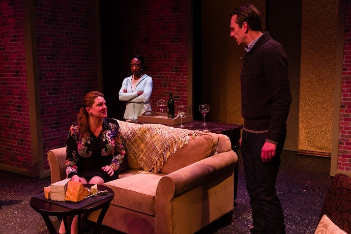 """""""Good People"""", written by David Lindsay-Abaire, directed by Robin Wilks-Dunn, Salt Lake Acting Company, Salt Lake Acting Company's Upstairs Theatre, Nell Gwyn as Margaret, Michelle Patrick as KAte, and Robert Scott Smith as Mike. Show opened October 30, 2013, © David Daniels."""
