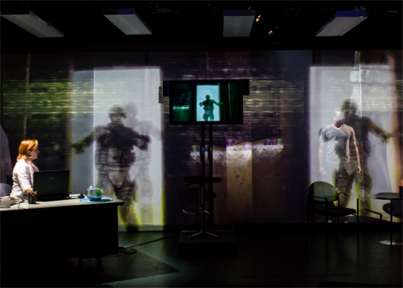 """Anthony Gaskins, Kathreen Khavari and Kittson O'Neill in """"You are Dead. You Are Here."""" written by Christine Evans, directed by Joseph Megel, multi-media design by Jared Mezzocchi, performed at HERE Arts, NYC (USA), June 2013 © Lana Duiverman"""