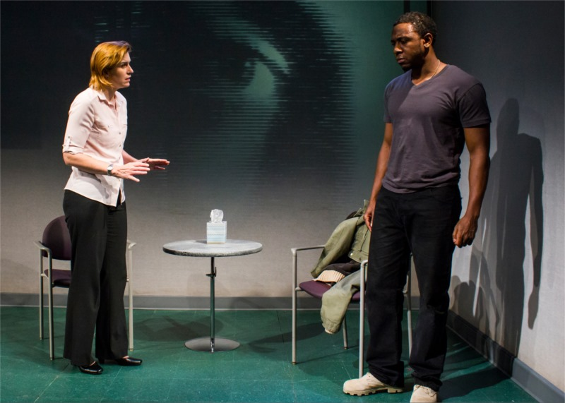 "Anthony Gaskins, Kathreen Khavari and Kittson O'Neill in ""You are Dead. You Are Here."" written by Christine Evans, directed by Joseph Megel, multi-media design by Jared Mezzocchi, performed at HERE Arts, NYC (USA), June 2013 © Lana Duiverman"